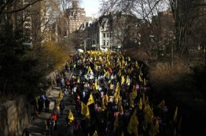 On April 2nd, building workers marched in support of union demands for higher wages.